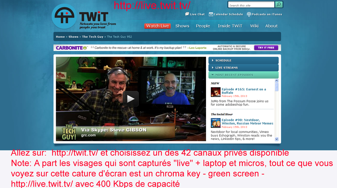 Can Tiki reproduce a fully commercial web tv stream cast like this one: Leo Laporte on Twit TV with his chroma studio showing guests on the right side of his screen.