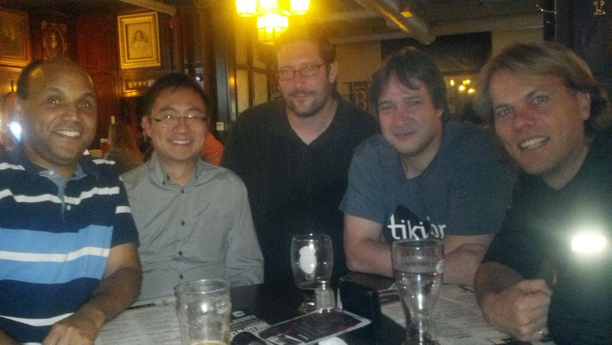Peter Baldwin, Nelson Ko, Darryl Sokoloski, Marc Laporte and Benjamin Chambers celebrating after a very successful TikiFest ClearOS in Toronto, 2013-10-22